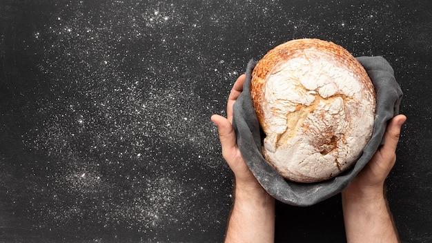 Widok z góry chleba concep z miejsca na kopię