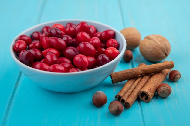 Widok z góry czerwonych jagód dereń na miskę z laskami cynamonu i orzechami na niebieskim tle drewnianych