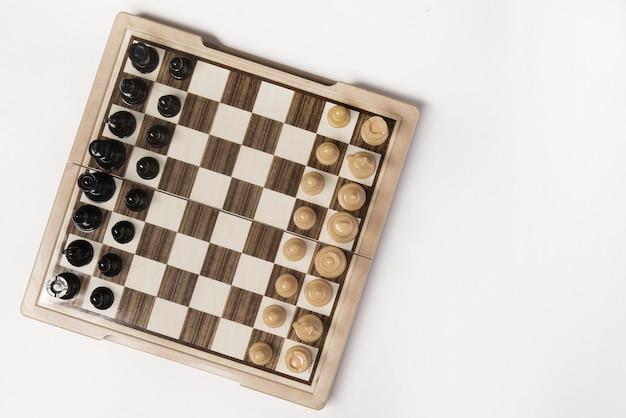 Widok z góry drewna szachy