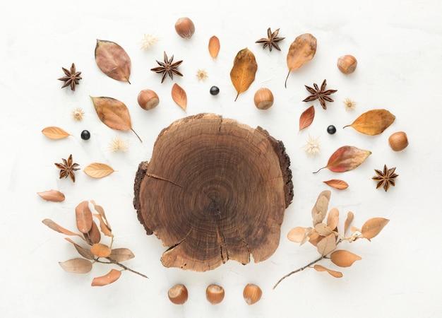 Widok z góry drewna z jesiennymi liśćmi