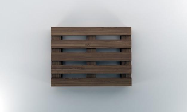 Widok z góry drewniana paleta renderowania 3d