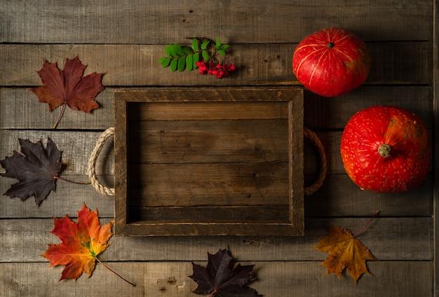 Widok z góry dwóch jesiennych dyń, liści klonu i gałęzi jagód jarzębiny na drewnianym tle rustykalnym.