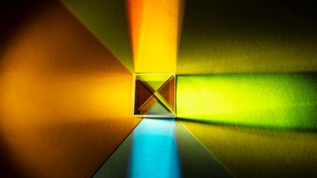 Widok z góry efekt pryzmatu światła abstrakcyjnego