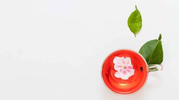 Widok z góry filiżankę herbaty z kwiatem
