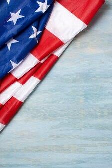 Widok z góry flaga usa z miejsce