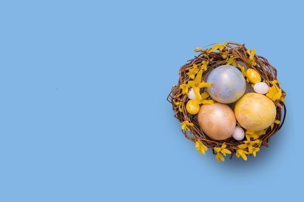 Widok z góry gniazdo z kolorowymi jajkami z kwiatami na niebiesko