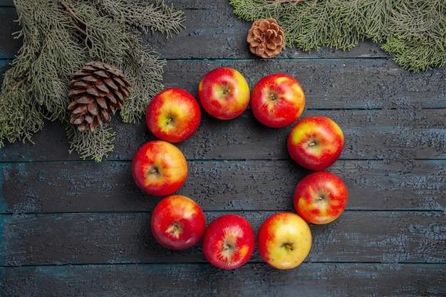 Widok z góry jabłka gałęzie szyszki dziewięć jabłek ułożonych w okrąg między gałęziami z szyszkami