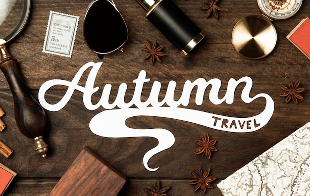 Widok z góry jesień koncepcja literowanie podróży