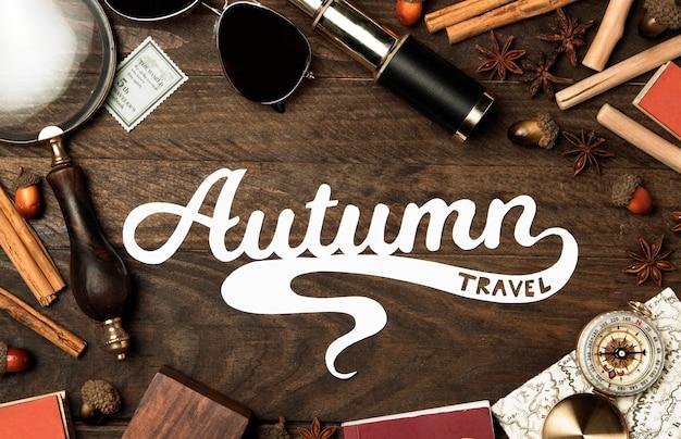 Widok z góry jesień koncepcja podróży