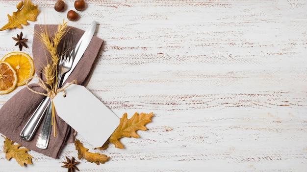 Widok z góry jesienna rama z kopiowaniem przestrzeni