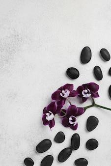 Widok z góry kamienie spa aromaterapia z miejsca na kopię