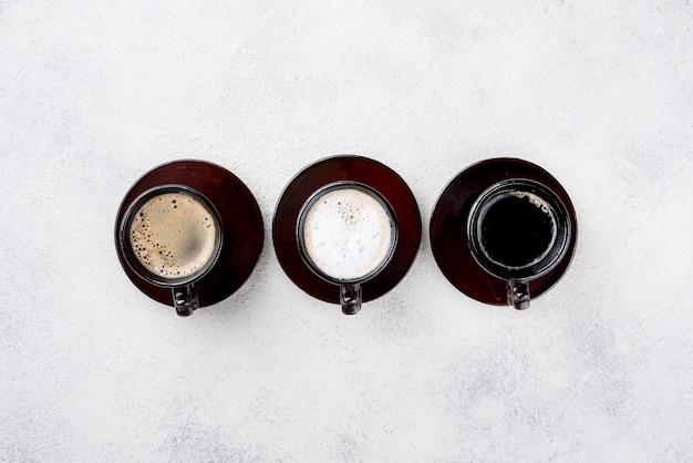 Widok z góry kawy z miejsca kopiowania