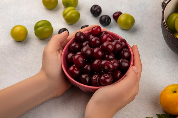 Widok z góry kobiecej ręki trzymającej czerwoną miskę z czerwonymi wiśniami z zielonymi wiśniowymi śliwkami z tarniny na białym tle