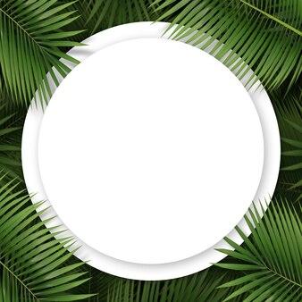 Widok z góry koła z liści palmowych i miejsca na kopię