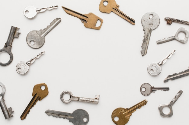 Widok z góry kolekcji kluczy