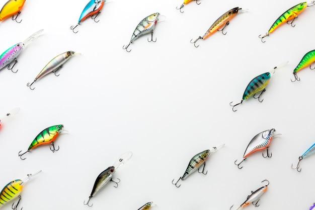 Widok z góry kolorowe przynęty rybne
