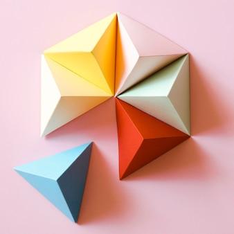 Widok z góry kolorowy geometryczny kształt