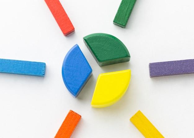 Widok z góry kolorowy wykres kołowy