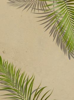 Widok z góry kompozycja 3d zielonych liści palmowych