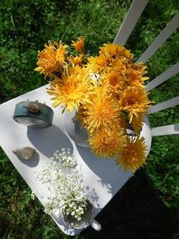 Widok z góry kompozycja kwiatowa
