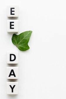 Widok z góry koncepcja dnia edukacji środowiska