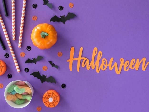 Widok z góry koncepcja halloween z miejsca na kopię