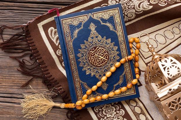 Widok z góry koncepcja islamskiego nowego roku