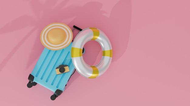 Widok z góry koncepcja podróży z aparatem i gumowym pierścieniem na walizce różowy pastelowe tło renderowania 3d