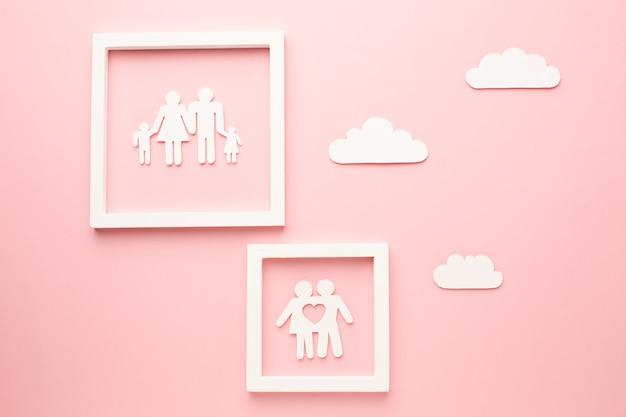 Widok z góry koncepcja rodziny łańcucha papieru