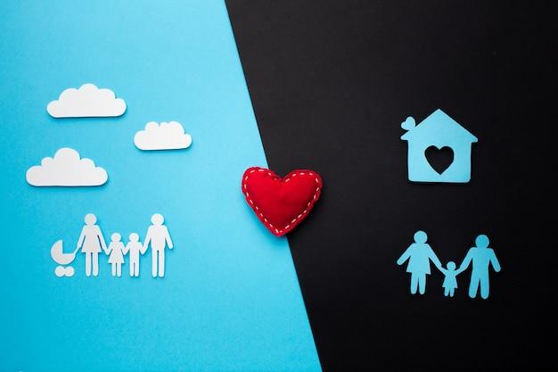 Widok z góry koncepcja rodziny papieru