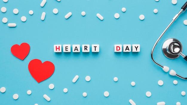 Widok z góry koncepcja światowego dnia serca z medycyną