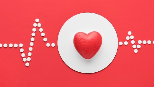Widok z góry koncepcja światowego dnia serca