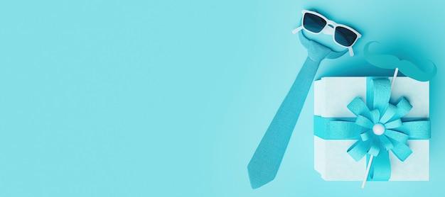 Widok z góry koncepcji dnia ojca z krawatem i prezentem w kolorze niebieskim