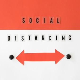Widok z góry koncepcji dystansowania społecznego