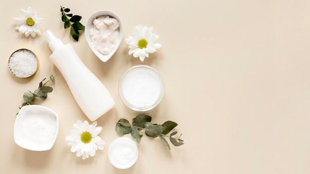 Widok z góry koncepcji kosmetyków naturalnych