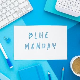 Widok z góry koncepcji niebieski poniedziałek