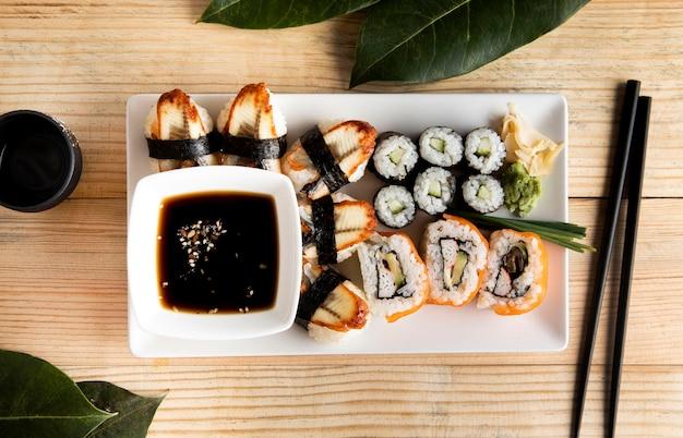 Widok z góry koncepcji pyszne sushi