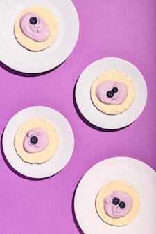 Widok z góry koncepcji pysznego jogurtu