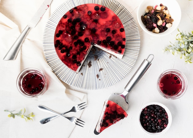 Widok z góry kromka ciasto owocowe