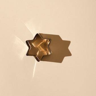 Widok z góry kształt gwiazdy na stole
