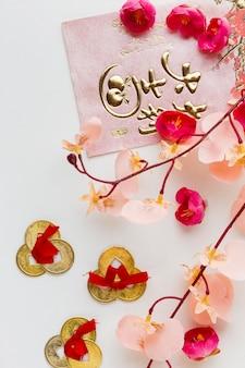 Widok z góry kwiatowy nowy rok chiński 2021