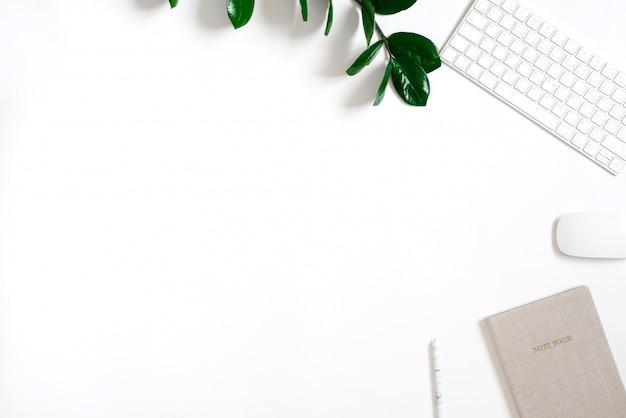 Widok z góry leżał na płaskiej powierzchni biurowej. stół jest stylizowany. projekt akcesoriów biurowych oddział zamiokulkas zielony, bezprzewodowa klawiatura i mysz, notatnik i długopis, miejsce do kopiowania.