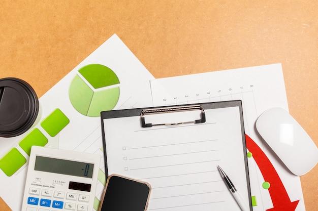 Widok z góry makieta projekt papier firmowy