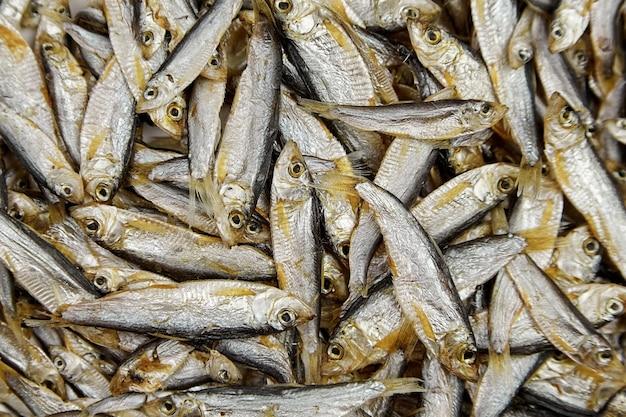 Widok z góry małe solone suszone ryby