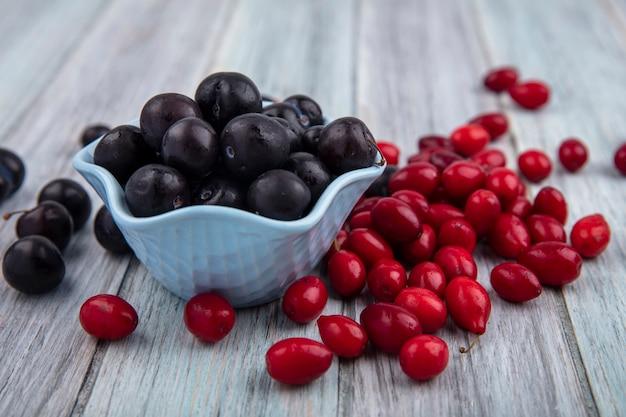 Widok z góry małej ciemnofioletowej tarniny na niebieskiej misce z czerwonymi jagodami dereń na białym tle na szarym tle drewnianych