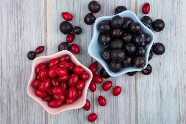 Widok z góry małej kwaśnej tarniny na niebieskiej misce z czerwonymi jagodami dereń na różowej misce na szarym tle drewnianych