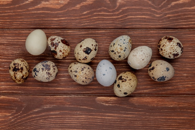 Widok z góry małych świeżych jaj przepiórczych wielu na białym tle na drewnianym tle