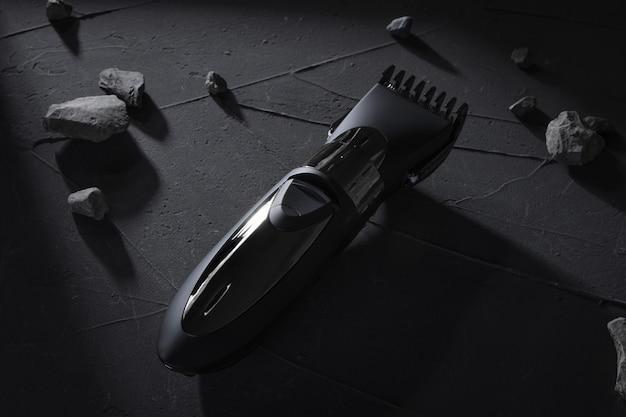 Widok z góry. maszynka do włosów i głowy na ciemnym betonie, kamienny stół z twardymi cieniami