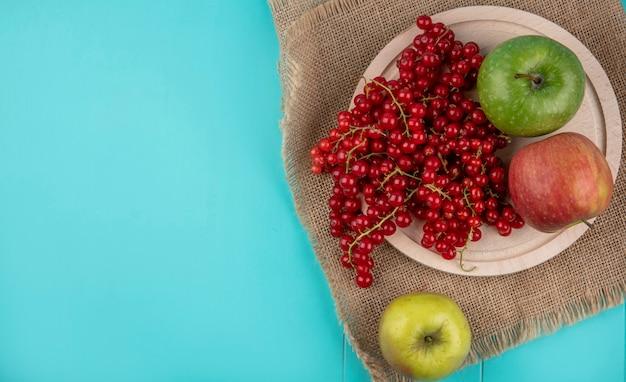 Widok z góry miejsca kopiowania czerwona porzeczka na talerzu z jabłkami na jasnoniebieskim tle