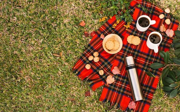 Widok z góry minimalistyczny piknik z miejsca na kopię